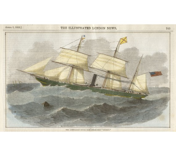 Australian Royal Mail Steam Ship Sydney engraving 1853