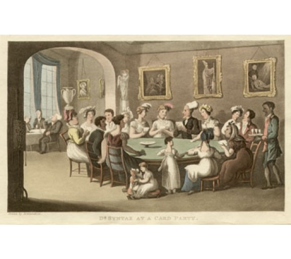 Dr Syntax Card Party Thomas Rowlandson colour aquatint