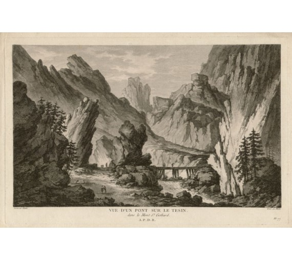 pont sur le Tesin Switzerland view engraving Chatelet