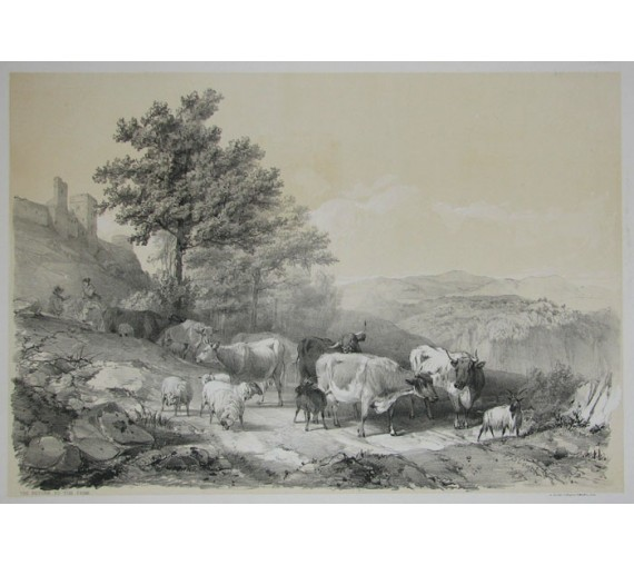The Return to the Farm Tinted lithograph Thomas Sidney Cooper