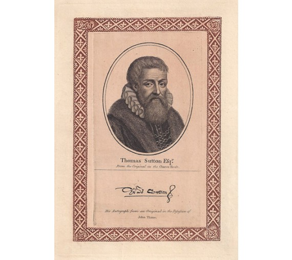Thomas Sutton Charterhouse portrait engraving print