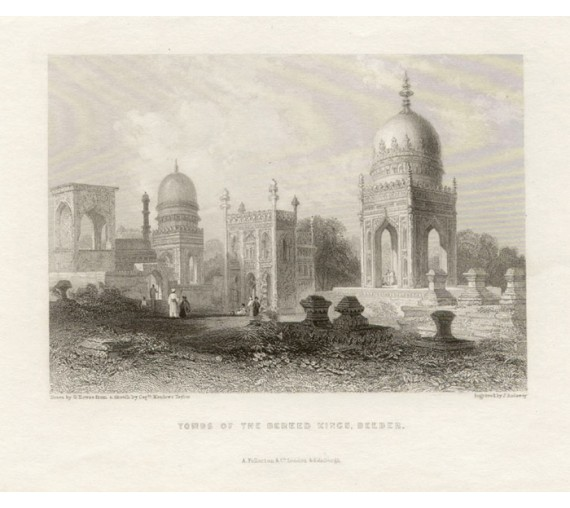 India Tombs Bereed Kings Beeder antique engraving