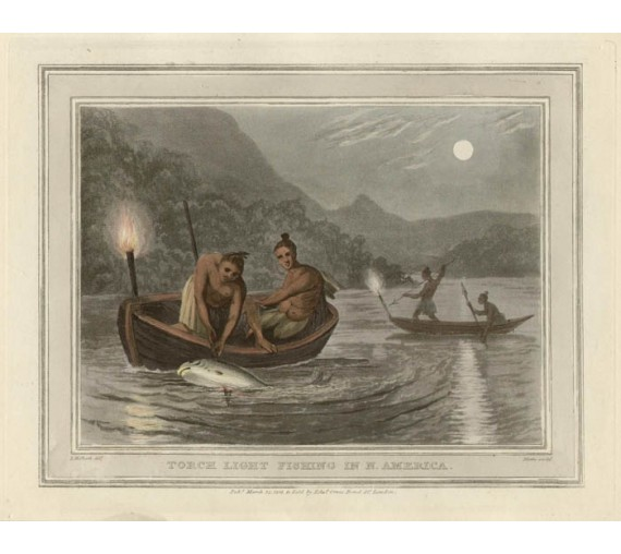 Torch Light Fishing America Foreign Field Sports aquatint
