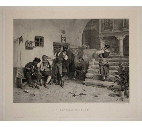 Un Barbier Distrait Photogravure Goupil Worms