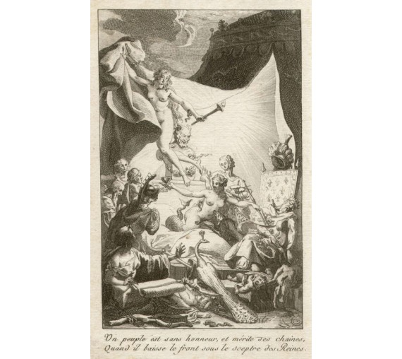 French 18th century satire engraving