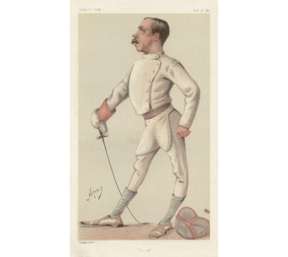 HenryStracey antique Vanity Fair fencer chromolithograph print
