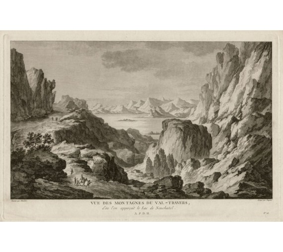 Montagnes du Val Travers Switzerland view engraving