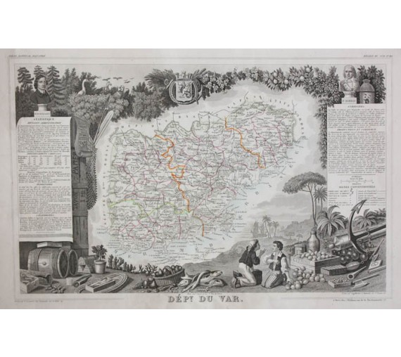 var levasseur french department antique map