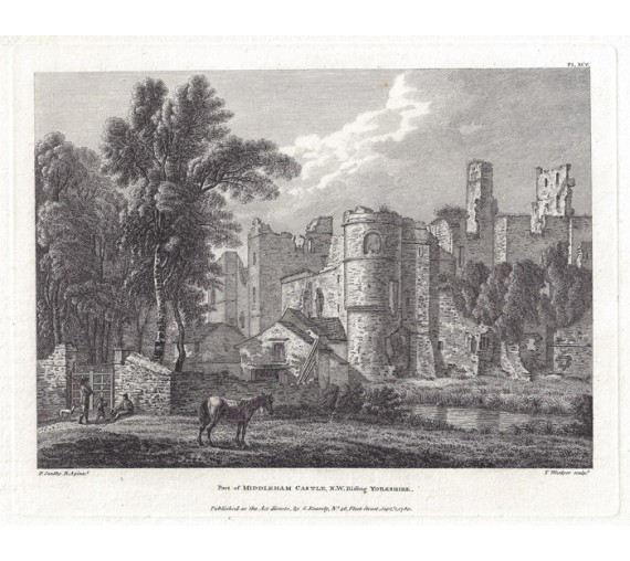 Middleham Castle Yorkshire Paul Sandby antique print engraving
