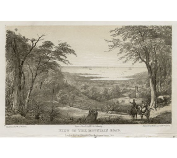View mountain road lithograph Walton Mundy 1852