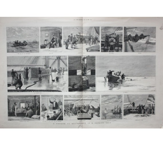 Voyage Melbourne Sailing Ship engraving Graphic 1881