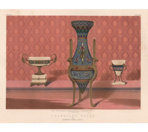 Vases Barbedienne waring exhibition chromolithograph