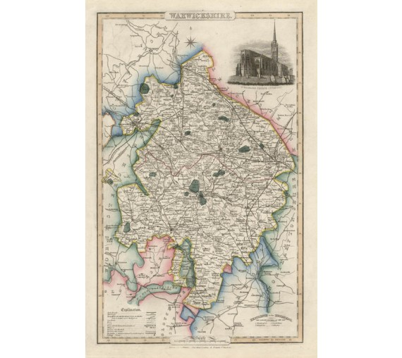 warwickshire english county slater antique map