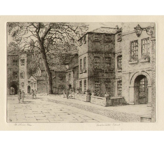 Westminster School London etching Oliver Rae