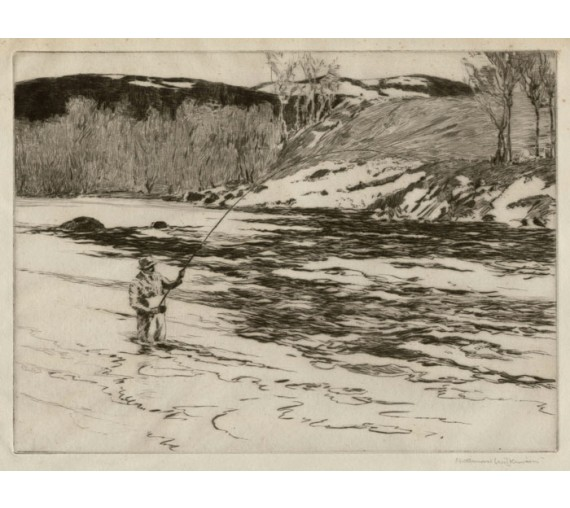 Fishing Dee angling etching Norman Wilkinson salmon