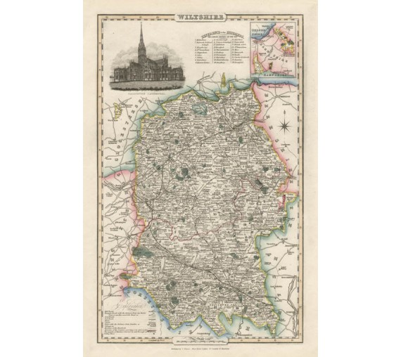 wiltshire english county slater antique map