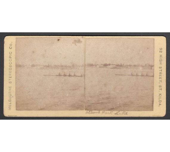 Rowing Albert Park Lake stereoview photograph melbourne