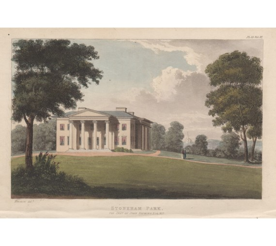 Stoneham Park aquatint ackermann antique print engraving hampshire