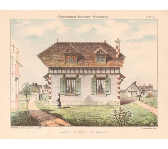 maison jardinier french architectural chromolithograph