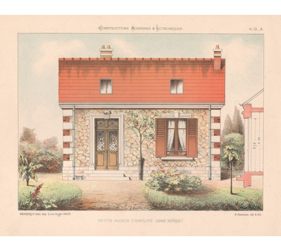 petite maison employe french architectural chromolithograph