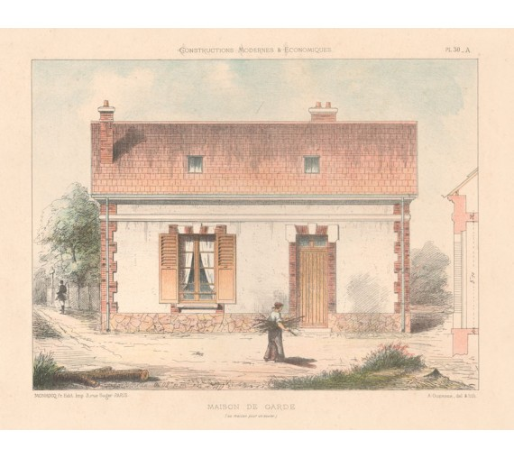 maison garde french architectural chromolithograph