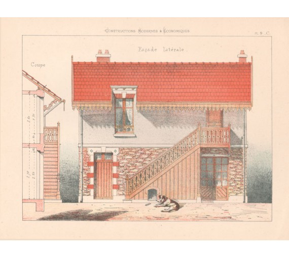 facade laterale french architectural chromolithograph