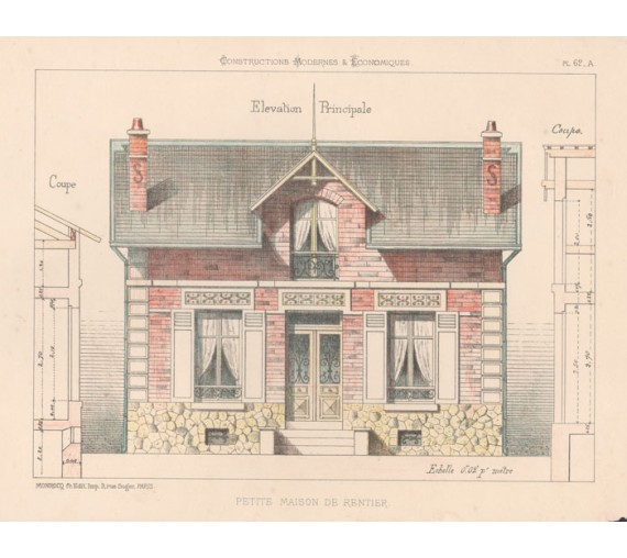 petite maison rentier french architectural chromolithograph