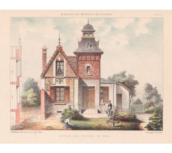cottage paris french architectural chromolithograph