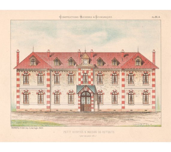 petit hospice french architectural chromolithograph