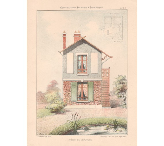 maison campagne french architectural chromolithograph