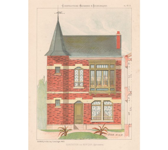 habitation rentier french architectural chromolithograph
