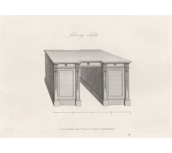 George Hepplewhite desk table furniture design antique engraving print