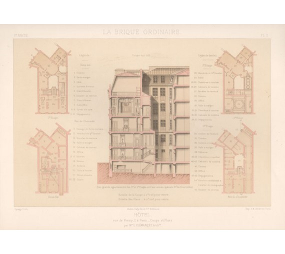 hotel prony chromolithograph brique ordinaire brick antique print