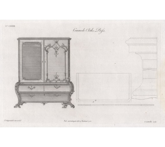 commode cloths press Chippendale furniture print director