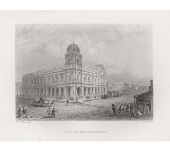post office melbourne engraving