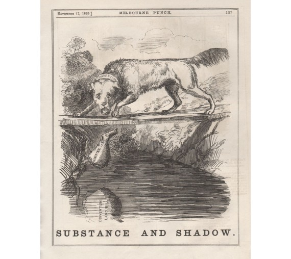 substance shadow engraving 1859 Melbourne Punch