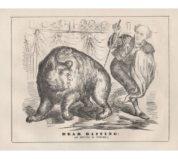 bear baiting engraving 1859 Melbourne Punch