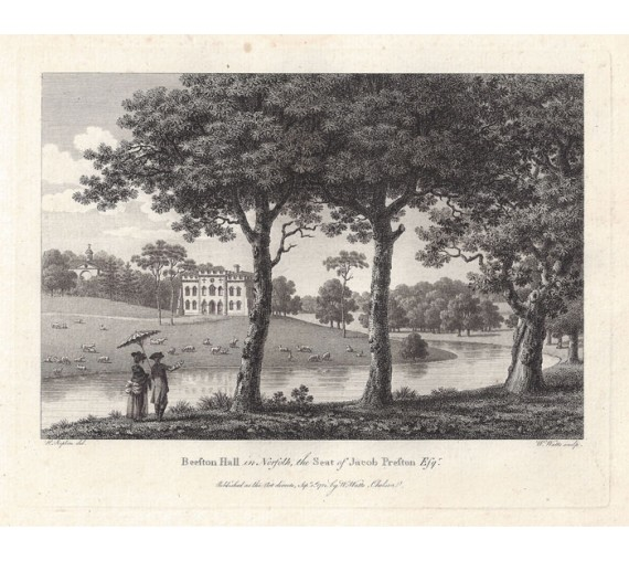 beeston hall norfolk antique print engraving