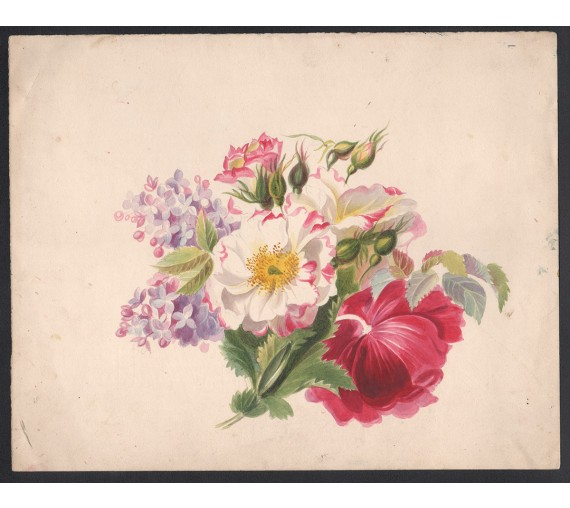 victorian flowers watercolour