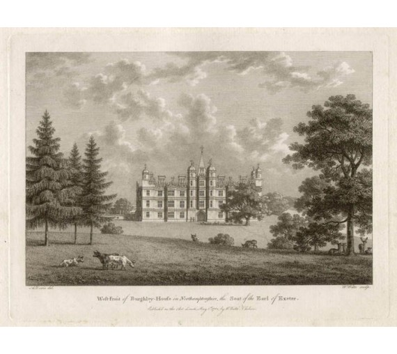 burghley house antique print engraving