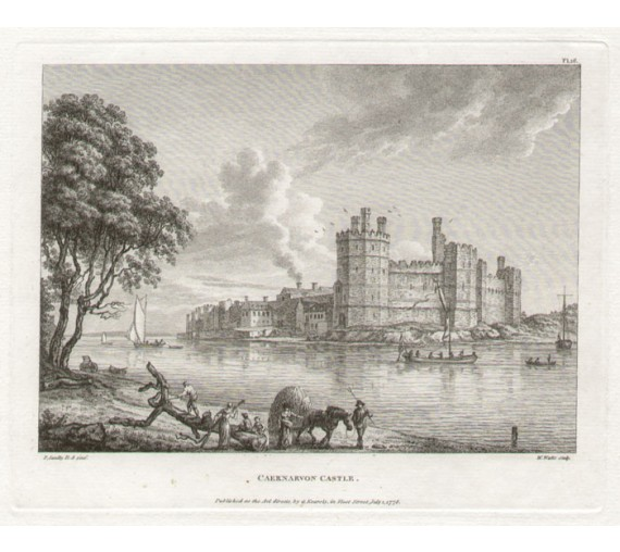 caernarvon castle Paul Sandby antique print engraving