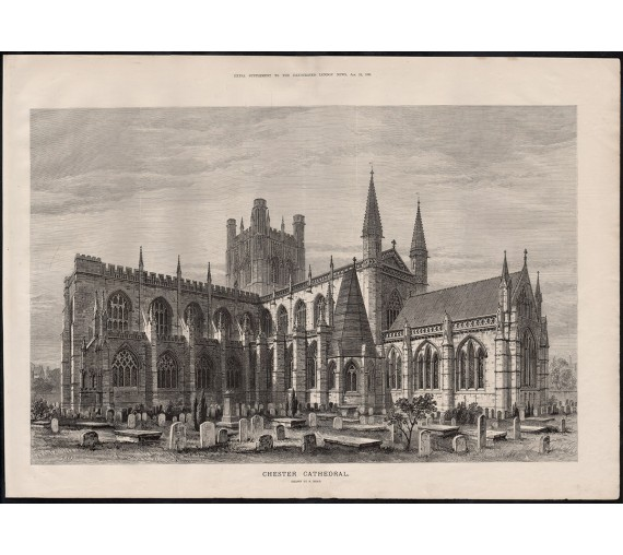 chester cathedral engraving print antique
