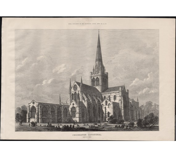 chichester cathedral engraving print antique