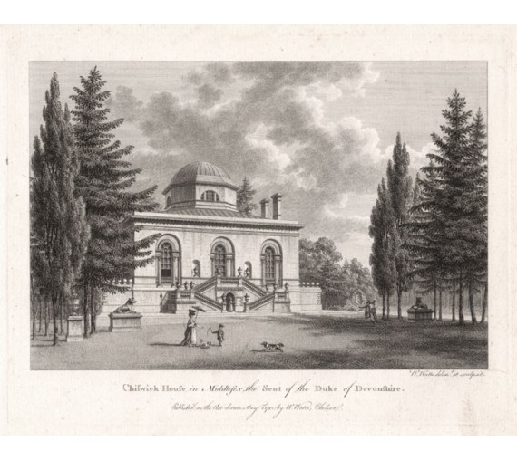 chiswick house antique print engraving