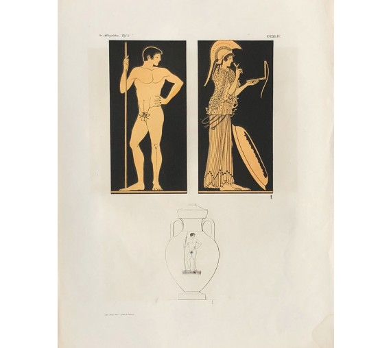 athletes Greek vase painting Chromolithograph print Gerhard