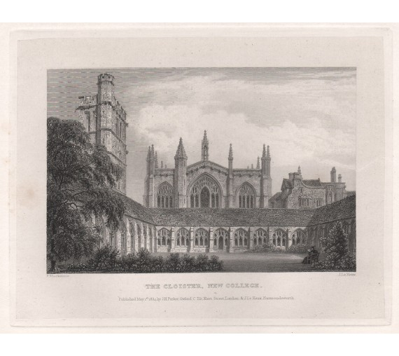 cloister new college oxford university engraving