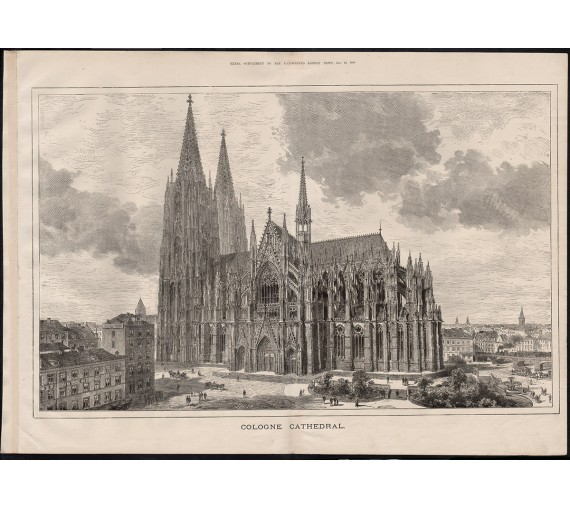 cologne cathedral engraving print antique