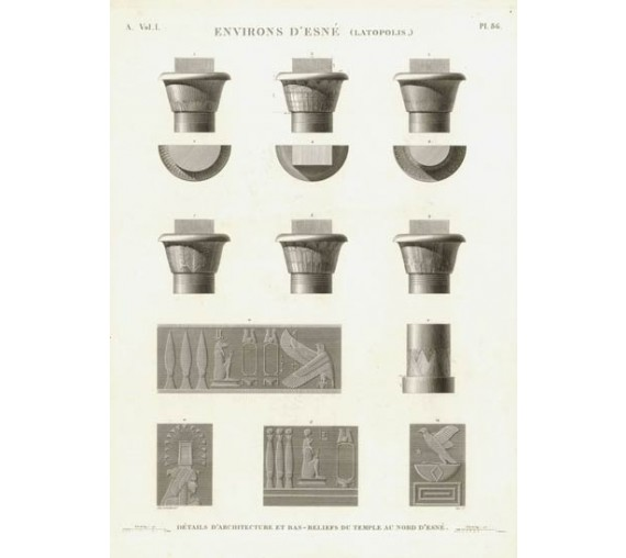 Egyptian temple Esne engraving Napoleon Description Egypt