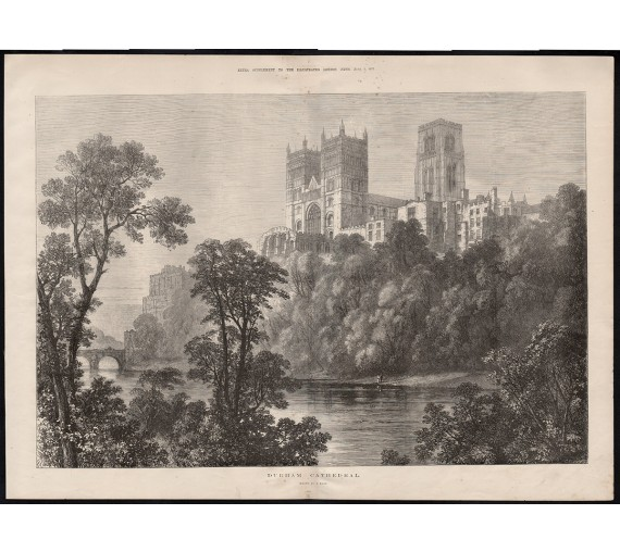 durham cathedral engraving print antique