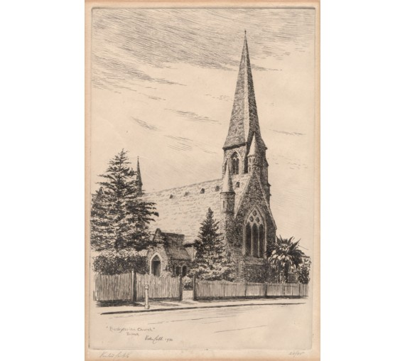 Presbyterian church toorak Melbourne etching Victor Cobb